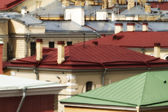 Metallic roofs different colors — Stockfoto