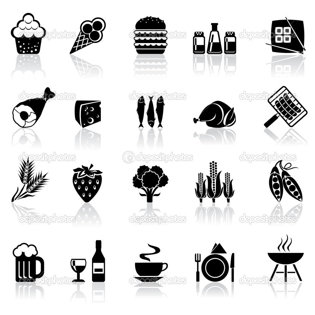 Black and white set icons with reflection - food and beverages — Stock Vector #5576896