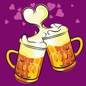 Beer and love — Stock Vector
