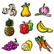 Vector fruits and vegetables — 图库矢量图片