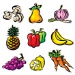 Vector fruits and vegetables — Stockvectorbeeld
