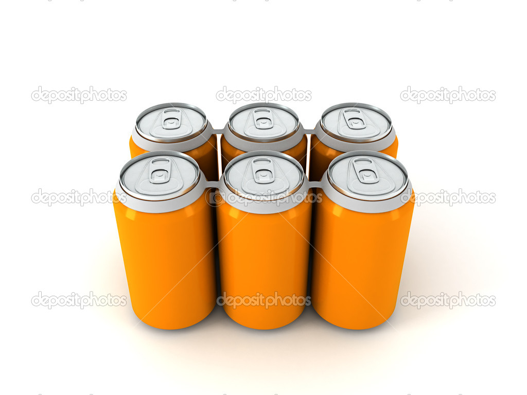 3d illustration of six orange aluminum cans over white background — Stock Photo #5799325