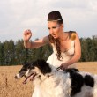 The young woman hold two borzoi dogs — Stock Photo