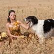 die junge Frau mit Barsoi — Stockfoto