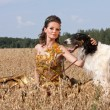 The young woman with borzoi — ストック写真