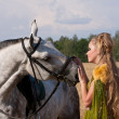 Horse and woman face to face — Stock Photo