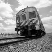 Passenger train in motion, Monochromatic — Stock Photo