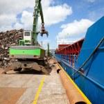 Crane Loading ship with steel — Stock Photo