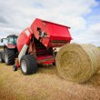 Stock Photo: Tractor collecting haystack in the field