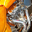 Motorbike's chromed engine — Stock Photo