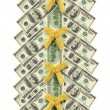 Christmas tree made of dollar bills — Stock Photo