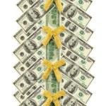 Christmas tree made of dollar bills — Stock Photo