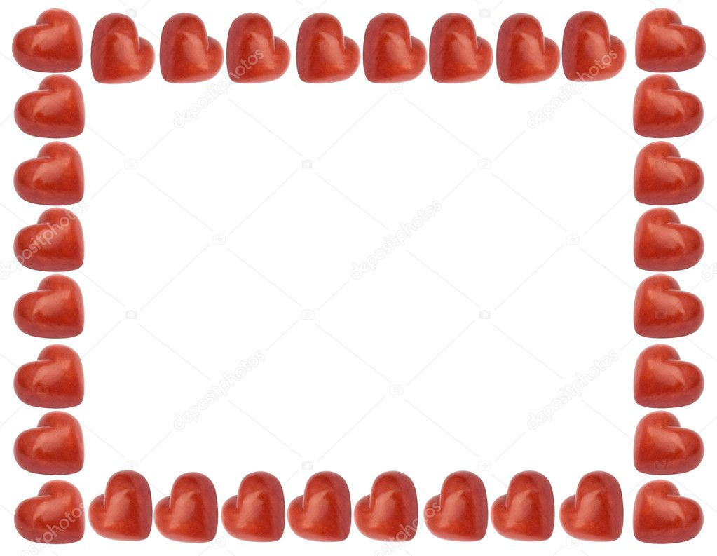 Love frame with red hearts isolated on the white background  Stock Photo #6737888