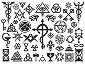 中世纪神秘迹象和魔法邮票 — 图库矢量图片