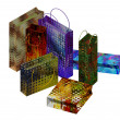 Art colorful paper bags set — Stock Photo
