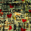 Stock Photo: Art vintage word love pattern background