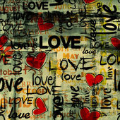Kunst vintage woord liefde patroon achtergrond — Stockfoto