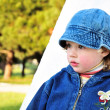 Little cute pensive girl — Stock Photo