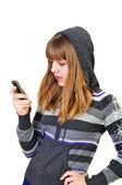 Adolescente digitação de sms — Foto Stock