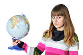 Teen girl holding globe — Stock Photo