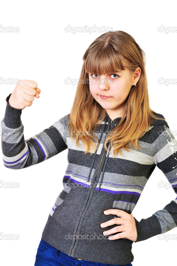 Girl Shaking Fist Angry