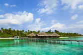 Water cafe on a tropical beach at Maldives — Stock Photo