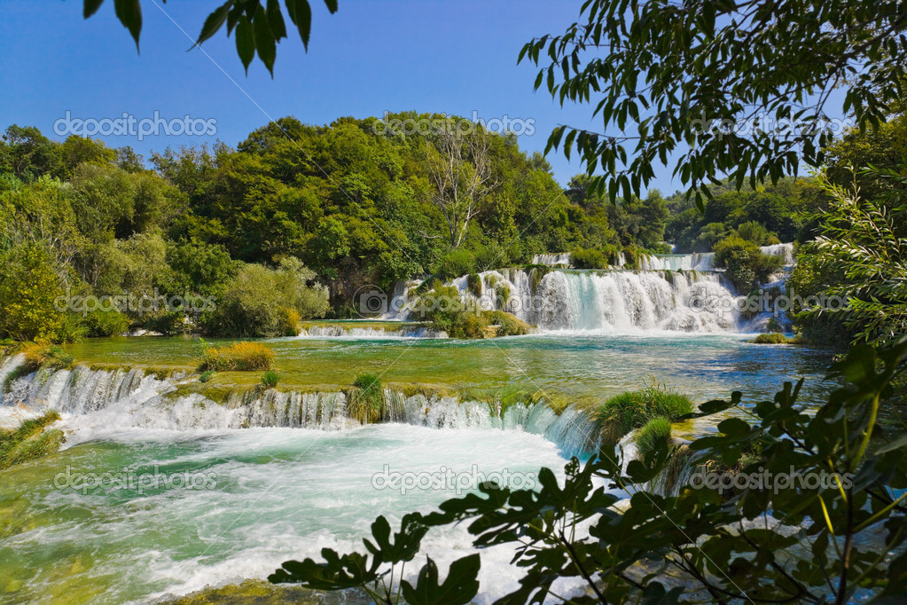 Waterfall KRKA in Croatia - nature travel background  Stock Photo #5528929