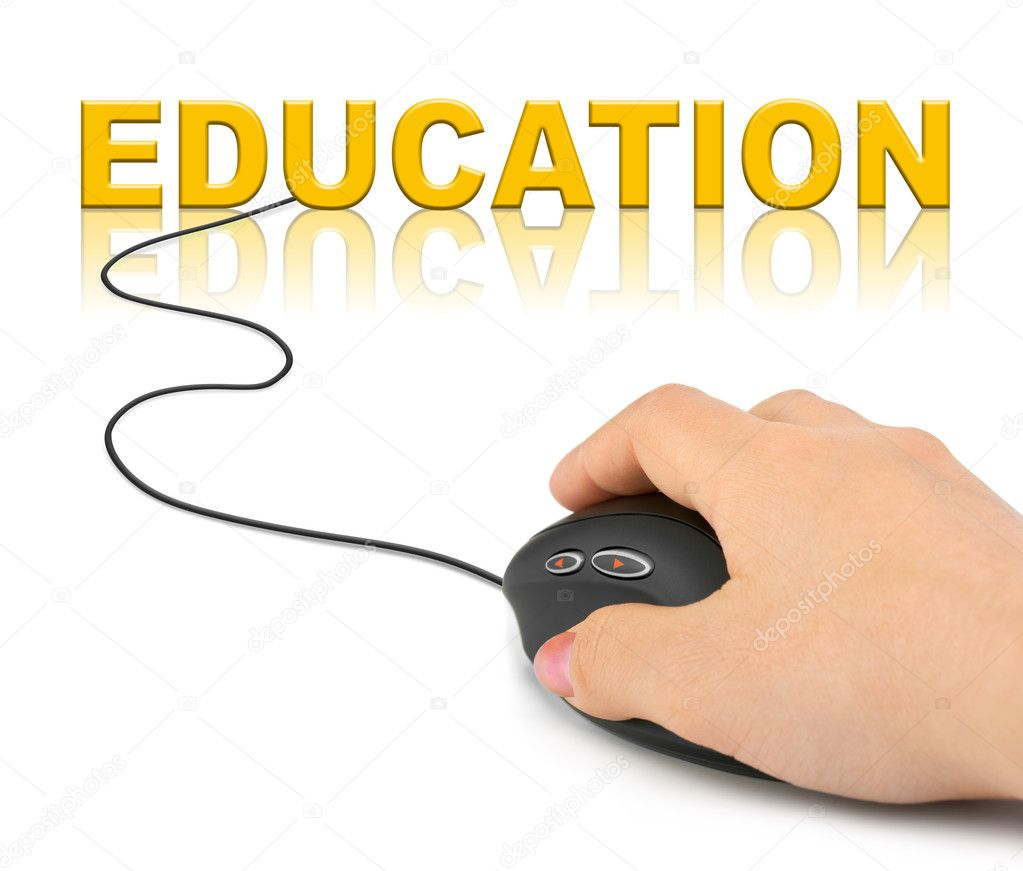 Hand with computer mouse and word education stock image