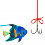 Fishing hook and fish — Stock Photo