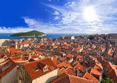Town Dubrovnik in Croatia at sunset — Stock Photo