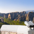Binoculars and Meteora monastery in Greece — Stock Photo