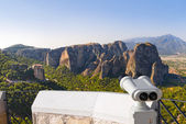 Binoculars and Meteora monastery in Greece — Stock Photo