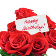 Roses and card Happy birthday - Stock Photo
