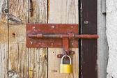 Old door and lock — Stock Photo