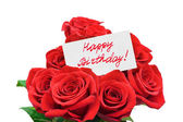Roses and card Happy birthday — Stockfoto