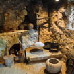 Retro room in cave — Stock Photo