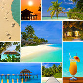 Collage of summer beach maldives images — Stok fotoğraf