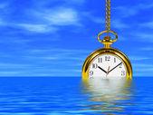 Clock in water — Stock Photo