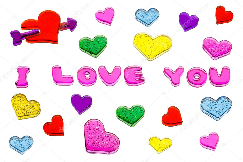Hearts and words I love you isolated on white background  Stock Photo #5870625