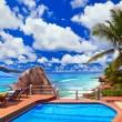 Pool at tropical beach — Stock Photo