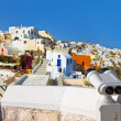 Stock Photo: Binoculars and Santorini view (Oia), Greece