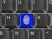 Computer keyboard with fingerprint — Stock Photo