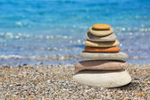 Stack of stones on beach — Stock Photo