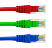 Multicolored computer internet cables — Stock Photo