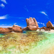 Panorama of tropical beach at Seychelles — Stock Photo