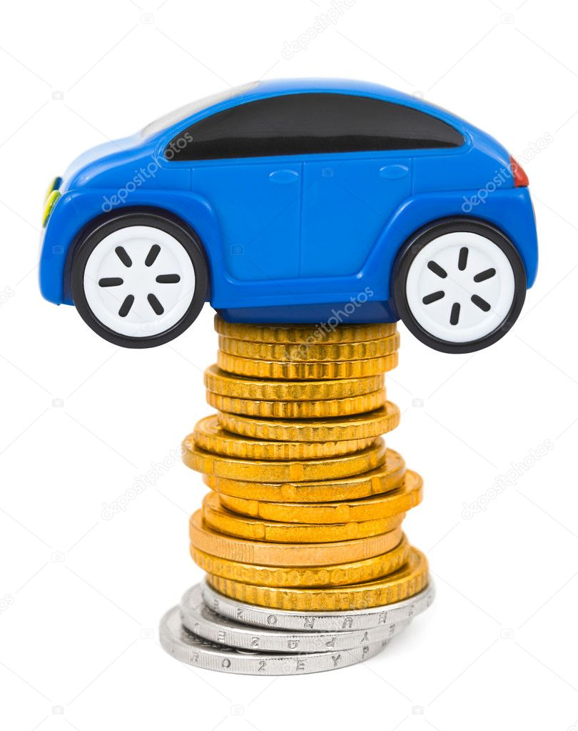 Toy car and stack of coins isolated on white background — Stock Photo #6054462
