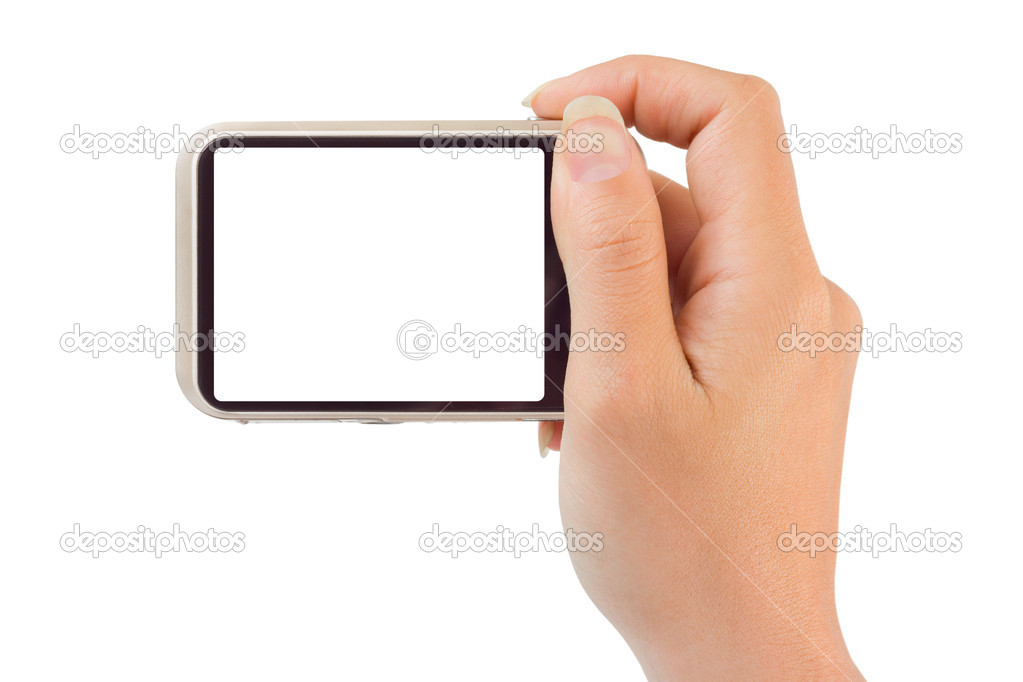 Photo camera in hand isolated on white background — Stock Photo #6107111