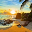 Tropical beach at sunset — Stock fotografie #6162524
