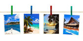 Vacation beach photography on clothespins — Stock Photo