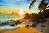 在日落的热带海滩 — 图库照片